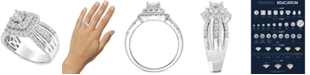 Macy's Diamond Multi-Row Halo Engagement Ring (1 ct. t.w.) in 14k White Gold