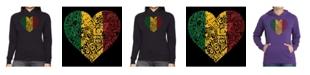 LA Pop Art Women's Word Art Hooded Sweatshirt -One Love Heart