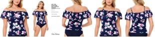 Swim Solutions Status Printed Off-The-Shoulder Tankini Top, Created for Macy's