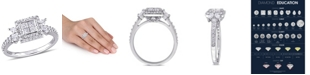 Macy's Princess- Cut Certified Diamond (1 ct. t.w.) Quad Halo Engagement Ring in 14k White Gold