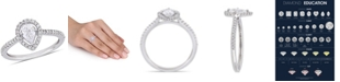 Macy's Pear-Cut Floating Certified Diamond (3/4 ct. t.w.) Halo Engagement Ring in 14k White Gold