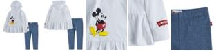 Levi's x Disney 2-Pc. Toddler Girls Mickey Mouse Peplum Hoodie & Leggings Set