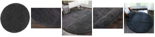 Long Street Looms Cali Shag CAL01 Charcoal 4' Round Area Rug