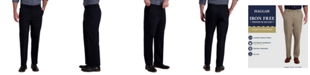 Haggar Men's Premium Classic-Fit Wrinkle-Free Stretch Elastic Waistband Dress Pants