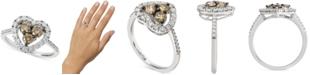 Le Vian Chocolate Diamond (1/2 ct. t.w.) & Nude Diamond (3/8 ct. t.w.) Heart Statement Ring in 14k White Gold