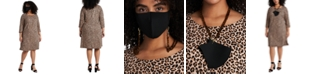 MSK Plus Size Animal-Print Shift Dress & Face Mask Necklace