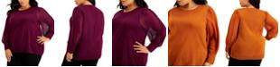 Calvin Klein Plus Size Sheer-Sleeve Blouse