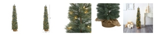 Nearly Natural Pine Artificial Christmas Tree with 70 Warm Lights Set in A Burlap Base