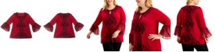 JM Collection Plus Size Stencil Flutter-Sleeve Embellished Top, Created for Macy's