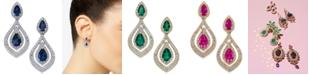 Macy's Sapphire (1-1/2 ct. t.w.) & Diamond (3/4 ct. t.w.) Drop Earrings in 14k Gold (Also available in Emerald & Certified Ruby)
