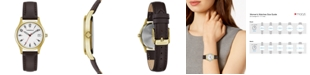 Caravelle  Women's Brown Leather Strap Watch 30mm
