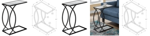 Monarch Specialties Black Nickel With Mirror Top Edgeside Accent Table