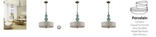 ELK Lighting Lilliana 3 Light Pendant in Aged Silver and Seafoam Ceramic
