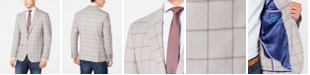 Cole Haan Men's Grand .OS Wearable Technology Slim-Fit Stretch Light Gray Windowpane Sport Coat