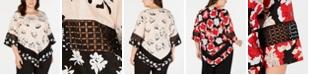Alfani Plus Size Printed Crochet-Trim V-Bottom Blouse, Created for Macy's