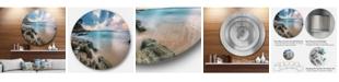 "Design Art Designart 'Gloomy Tropical Sunset Beach' Extra Large Seascape Metal Wall Decor - 38"" x 38"""