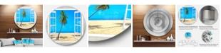 "Design Art Designart 'Open Window To Beach With Palm' Extra Large Seashore Metal Circle Wall Art - 38"" x 38"""