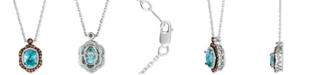 Le Vian Blueberry Zircon™ (1-9/10 ct. t.w.), Vanilla Diamonds® (1/8 ct. t.w.) & Chocolate Diamonds® (1/3 ct. t.w.) Pendant Neckace in 14k White Gold