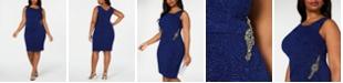 Alex Evenings Plus Size Embellished Glitter Sheath Dress
