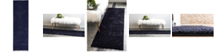 "Bridgeport Home Salon Solid Shag Sss1 Midnight Blue 2' x 6' 7"" Runner Area Rug"