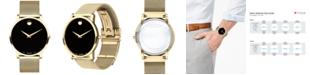 Movado Men's Swiss Museum Gold-Tone PVD Stainless Steel Mesh Bracelet Watch 40mm