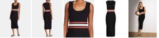Lauren Ralph Lauren Striped-Waist Ribbed Midi Dress