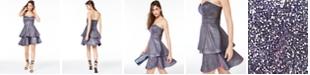 Teeze Me Juniors' Strapless Tiered Metallic Dress