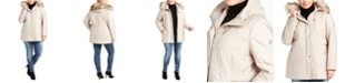 Calvin Klein Plus Size Faux-Fur-Trim Hooded Quilted Jacket