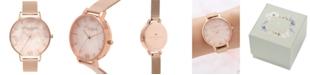 Olivia Burton Women's Rose Gold-Tone Stainless Steel Mesh Bracelet Watch 38mm