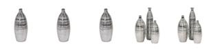 Howard Elliott Metallic Pewter Striped Bottle Vase, Small
