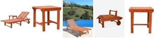 VIFAH Malibu Outdoor Patio Wood 2-Piece Beach and Pool Lounge Set
