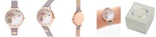 Olivia Burton Women's Enchanted Garden Gray Lilac Leather Strap Watch 34mm