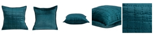 Parkland Collection Cyrene Transitional Teal Solid Quilted Pillow Cover with Polyester Insert