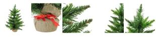 "Northlight 18"" Mini Balsam Pine Artificial Christmas Tree in Burlap Base - Unlit"