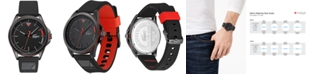 Lacoste Men's Cap Marino Black Silicone Strap Watch 44mm