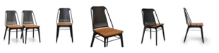 Cenports Strada Steel and Teak Outdoor Dining Chair - Set of 2