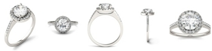 Charles & Colvard Moissanite Round Halo Ring 1-3/4 ct. t.w. Diamond Equivalent in 14k White Gold