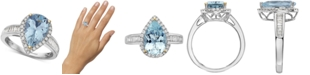 EFFY Collection EFFY® Aquamarine (2-1/2 ct. t.w.) & Diamond (3/8 ct. t.w.) Pear Shaped Ring in 14k Gold & White Gold