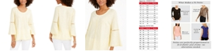 Style & Co Crochet-Trim Bell-Sleeve Top, In Regular and Petite, Created for Macy's