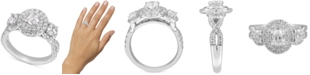 Macy's Diamond Oval Halo Three-Stone Engagement Ring (1-3/4 ct. t.w.) in 14k White Gold