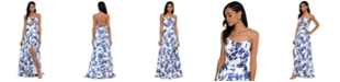 Betsy & Adam Floral-Print Tulip Gown