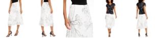 Alfani Pleated Floral-Print Midi Skirt, Created for Macy's