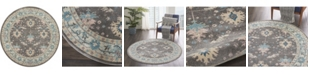 """Long Street Looms Peace PEA10 Gray, Pink 5'3"""" Round Area Rug"""