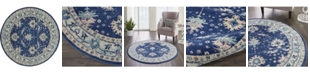 """Long Street Looms Peace PEA10 Navy 5'3"""" Round Area Rug"""