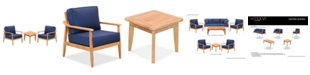 Furniture Savona Teak Outdoor 3-Pc. Seating Set (2 Club Chairs & End Table) with Sunbrella® Cushions