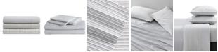 Kenneth Cole Shirting Stripe Cotton Sateen Twin Sheet Set