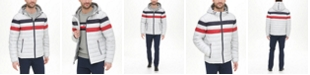 Tommy Hilfiger Men's Quilted Color Blocked Hooded Puffer Jacket