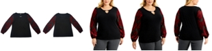 JM Collection Plus Size Velvet Burnout-Sleeve Tunic Top, Created for Macy's