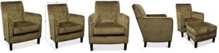 Furniture Calvin Brass Nail Trim Fabric Accent Chair
