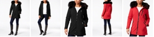 Calvin Klein Faux-Fur-Trim Hooded Raincoat